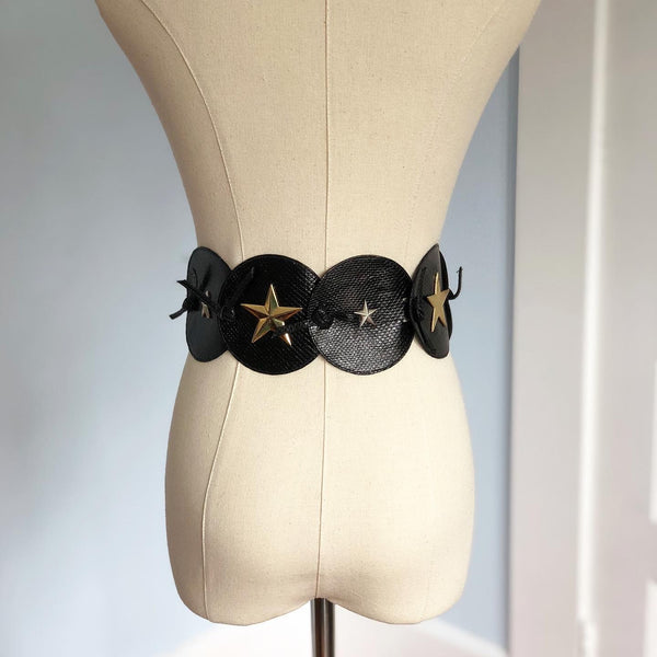 1980s Leather with Metal Moon & Stars Theme Belt