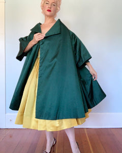 Custom 1950s Givenchy-Inspired Silk Peau de Soie Trapeze Coat