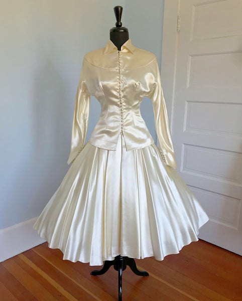 1947 New Look Candlelight Cotton Sateen Bridal Suit