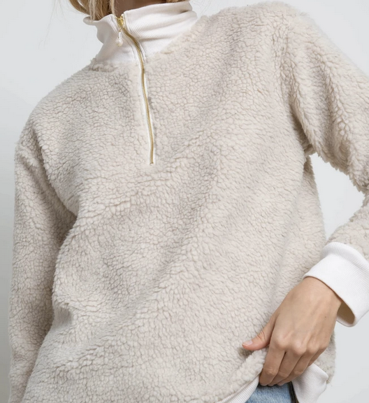 Cream pullover with pearl zip
