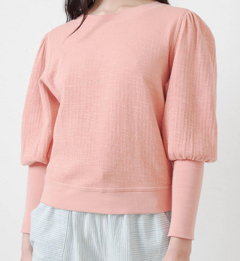 Olimpio puff sleeve sweatshirt summer blush
