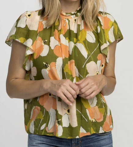 Carla highneck shirt green floral