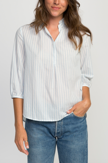 Sara henley shirt lt blue stripe