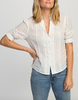 Eloise short sleeve pintuck shirt in white with navy micro dot