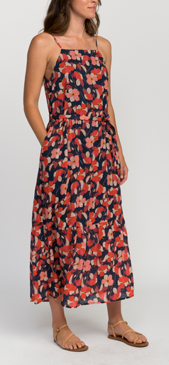 Cecile squareneck maxi dress navy floral
