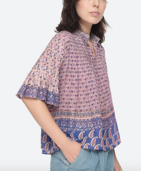 Bianca pintucked top in violet