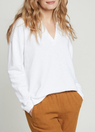 Tumelle slub cotton fleece v-neck sweatshirt