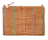 woven leather clutch with pale pink leather shoulder strap
