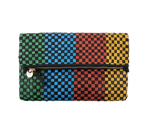 woven leather foldover clutch black and bright