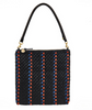 woven stripe leather fold over clutch with black leather shoulder strap
