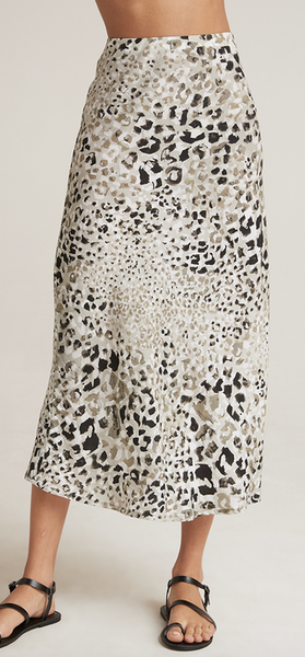 Bias midi skirt in desert olive animal print