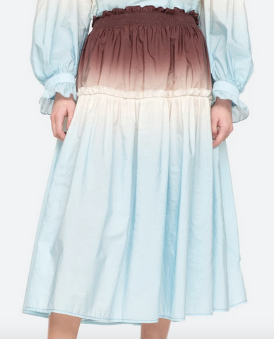 Zanna smocked skirt in chestnut blue