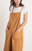 Brianna cotton canvas overalls in toffee