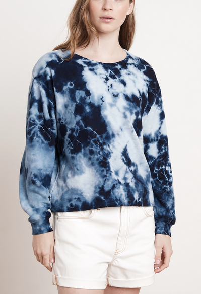 Adelpha tie dye sweatshirt in blue and white