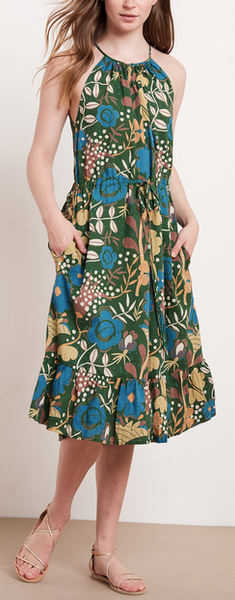 Purl printed flounce hem midi dress in green