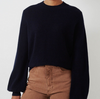 Carmen navy crewneck cashmere sweater with blouse sleeve