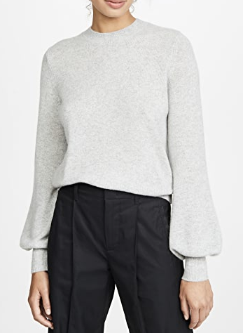 grey cashmere crew sweater with blousson sleeves