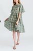 Vienna dress in green tile print