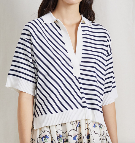 Clara collar knit cream and navy stripe