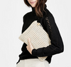 cream rattan woven clutch with leather shoulder strap
