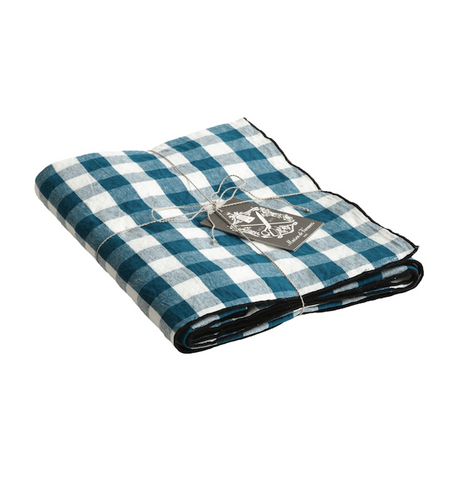 Canvas mimi vichy check tablecloth in Canard / Bourdon noir 57