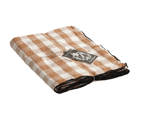 Canvas mimi vichy check tablecloth in Terracotta / Bourdon noir 57