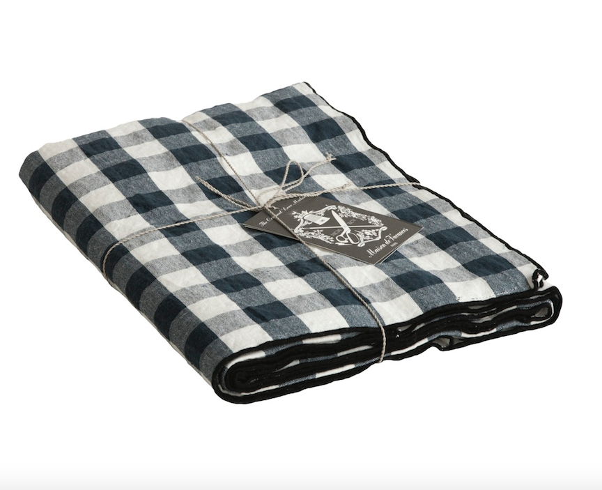 canvas mimi vichy check table cloth Petrole / bourdon noir 57