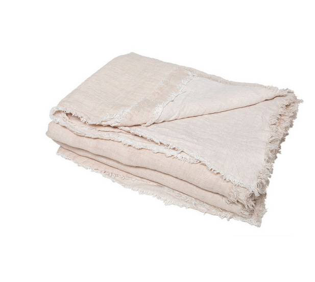 vice versa fringed washed linen throw Creme / Givre