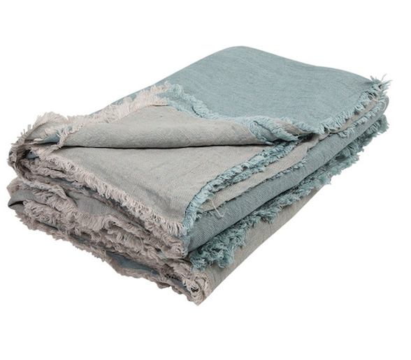 vice versa fringed washed linen throw Aqua / Givre