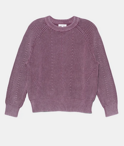 Chelsea cotton crewneck sweater in berry