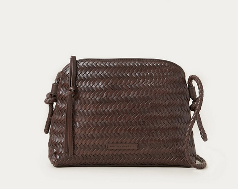 Mallory woven crossbody bag chocolate