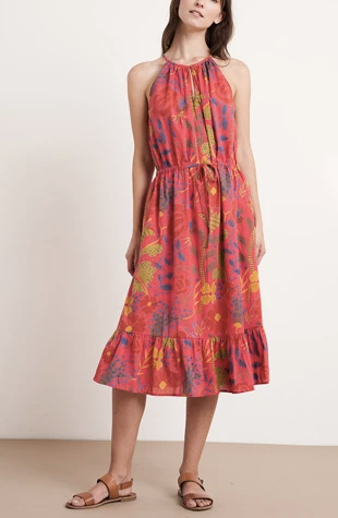 Purl printed flounce hem midi dress in red