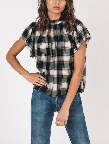 Carla highneck shirt cypress plaid