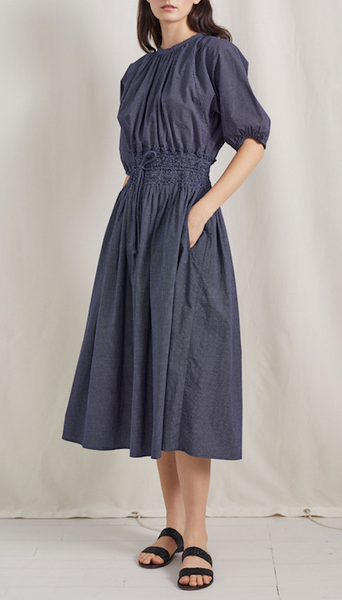Elisa smocked dress navy polka dot