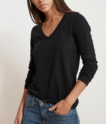 black v-neck longsleeve