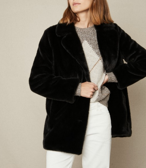 blue black faux fur vlap coat