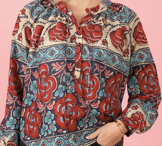 Hope blouse blue floral