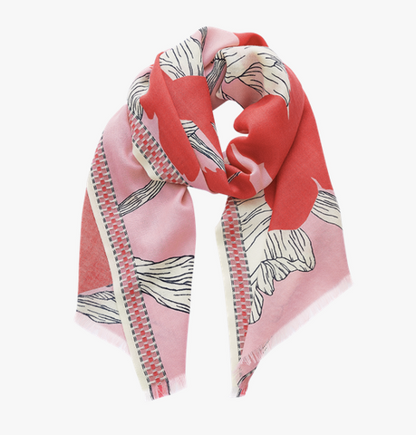 scarf dhalia red
