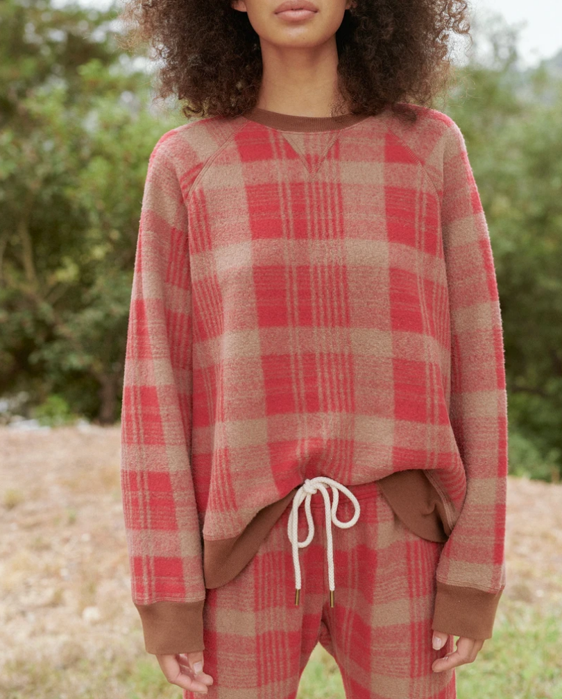 the slouch sweatshirt lumber plaid