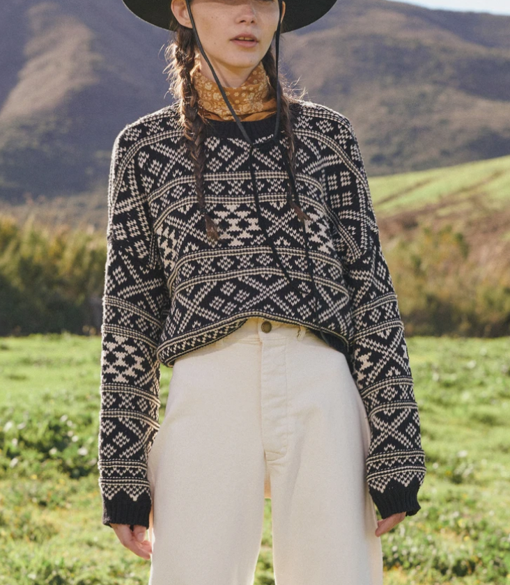 The fair isle pullover sweater in black