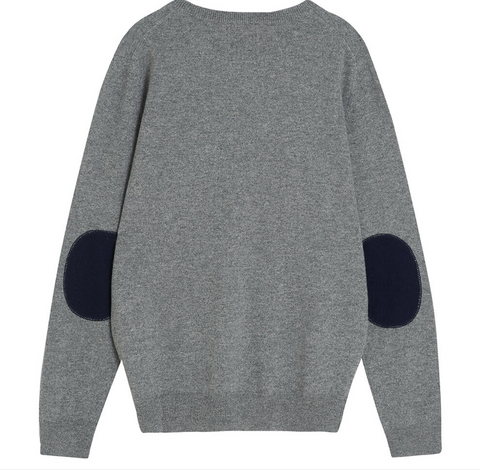 Elbow patch crew cashmere sweater