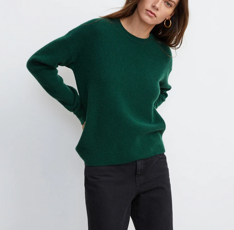 Michaela cashmere crew neck sweater sweater in evergreen
