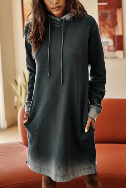 Dekota ombre hoodie dress willow green