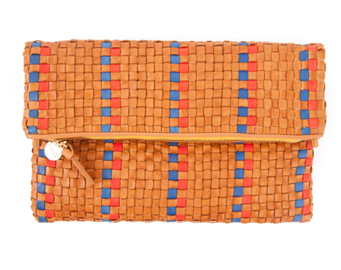Woven checker foldover clutch with tabs in natural with poppy stripe.