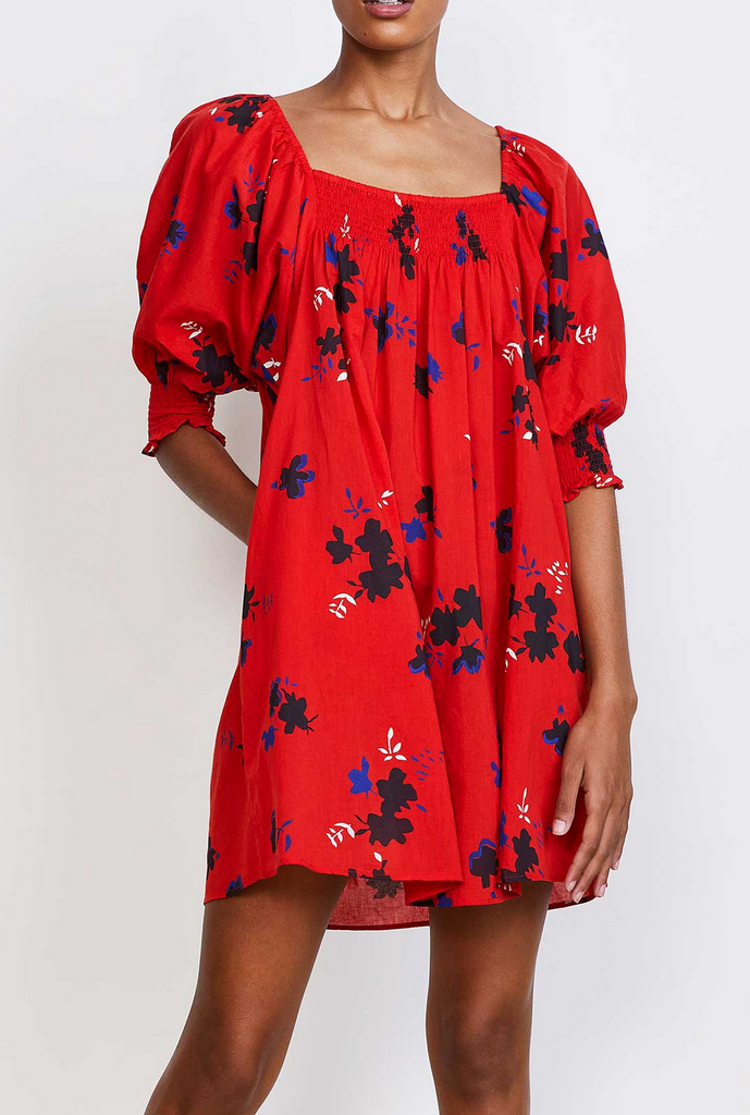 Inacea balloon sleeve dress red astar floral