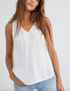 sleeveless v-neck smock top white