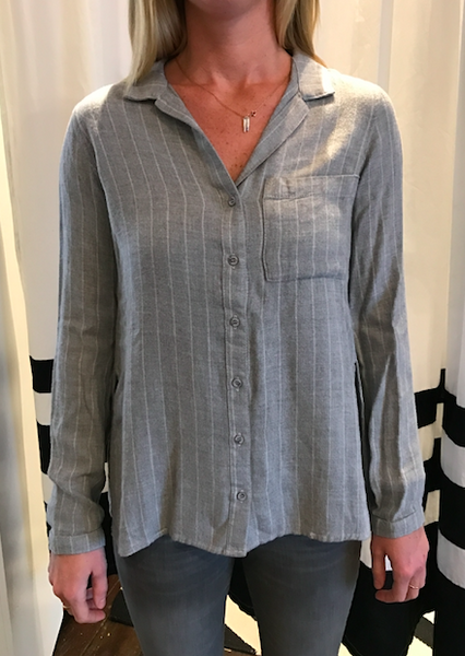 Heather grey pinstripe side slit buttondown