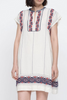 Leah tunic dress cream with blue and cranberry embroidery