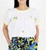 Poppy top white embroidered, cotton voile