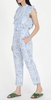 Rose jumpsuit Delph bird wave blue rayon dobby